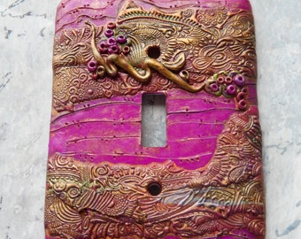 Life will find a Way, light switch cover, red violet, gold, green, polymer clay, abstract, vine with berries