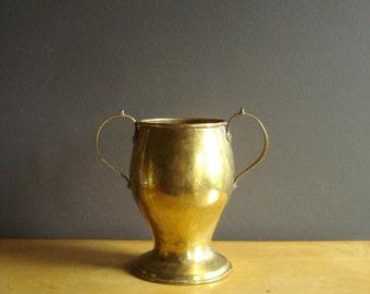 Champion Vessel - Large Vintage Brass Urn with Handles - Hammered Brass Vessel