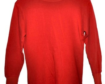 Vintage 50s DUOFOLD Two Layer Fabric Style 419 Long Sleeve T Shirt Mohawk NY Red