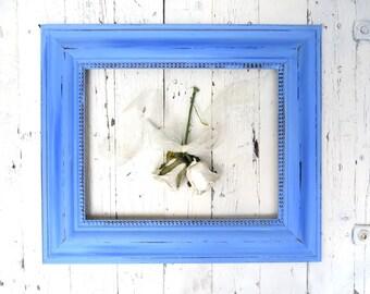 Large Blue Frame, Vintage Wall Frame, 11x14 Frame, Shabby Cottage Decor, Bright Blue Beach Decor, Farmhouse Shabby, Rustic Picture Frame
