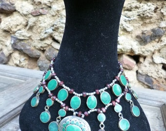 Three Pretty  Afghan Tribal Necklaces. Red, Blue, Jade , Mauve. Hand made.