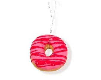 RESERVED FOR ALYSON, Strawberry Zigzag Frosted Donut Christmas Tree Ornaments, Glazed Donut, Light weight, Handmade
