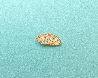 Moth Enamel Pin - Pretty Lapel Pin Moth Illustration - Butterfly Ornate Wings - Animal Enamel Pin