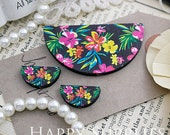 Semicircular (SC14) Flower Handmade Photo Wood Cut Charm Cabochon (Back Black)