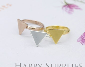 5pcs 14.5mm Nickel Free Golden/Silver/Rose Golde Brass Ring with Triangle Pad (ZG163) (Adjustable)