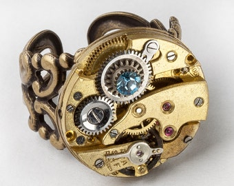 Steampunk Gold Filigree Ring Victorian Watch Movement with Vintage Clockwork Gears & Blue Topaz Swarovski Crystal on Adjustable Band 2758