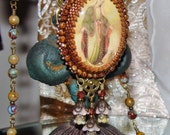 Mary, Queen of Heaven and Earth bead embroidery pendant picasso beads prayer necklace Sacred Jewelry Pamelia Designs