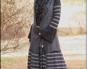 Hooded Bohemian Gypsy Jacket - Steampunk Fashion - Knee Length Coat - Burning Man - Boiled Wool - Winter Fall Clothing - A Line - Size Small