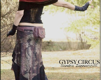 Skirt - Steampunk - Burning Man - Playa Wear - Tribal Overskirt - Gypsy Bohemian - Gothic Fashion - Burgundy - Size Small