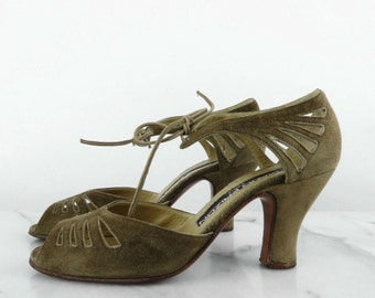 MAUD FRIZON Paris Suede Leather Heels Olive Cut Out Ankle Tie Bow Peep Toe Low Heel 6.5