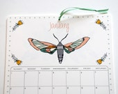 2017 Wall Calendar, 8.5x11 inches featuring 12 different woodland illustrations in mustard, red, gray, gold, teal, mint, coral and brown