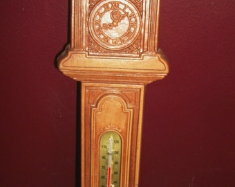 Vintage Grandfather Clock Thermometer