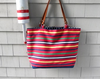 Large tote, leather handles, striped tote, nautical tote, beach tote, boat tote, in fabric from Madeira, Portugal