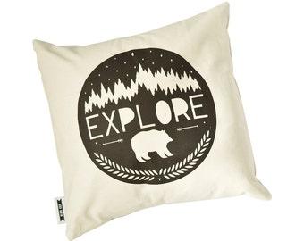 16 x 16 pillow cover, adventure pillow, pillow cover, organic pillow cover, explore pillow, black and white pillow, explore print