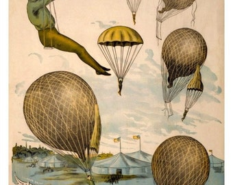 antique french hot air balloon acrobat illustration digital download