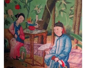 antique french chinoiserie wallpaper design rabbit illustration digital download
