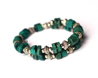 Turquoise Memory Bracelet - Turquoise Bracelet - Turquoise Jewelry - Wrap Bracelet -  Memory Bracelet - Silver Wrap Bracelet