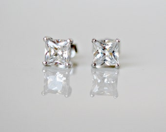 Diamond stud earrings - sterling silver princess cut square prong set 5mm cubic zirconia solitaire studs - simple jewelry - Minka