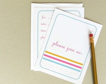 Fill In The Blank Invitation Pleas Join Us Colorful Set of 10 with Envelopes Stationery for Birthday Party Wedding Shower Or Celebration
