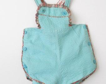 Vintage Child's Romper Sunsuit Brockways • Summer Cotton Sun Suit Teal and Plaid