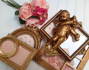 GOLD Shabby Chic Picture Frames Set with gold Cherub  (7 piece set )