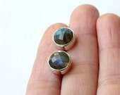 Labradorite Bezel Set Stud Post Earrings- - Sterling Silver
