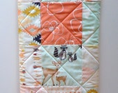 Baby Girl Quilt-Modern Hello Bear-Woodland and Aztec Art Gallery Fabric-Mint and Coral Arrows Baby Blanket
