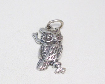 Hootie with no blowfish ;) hehe Sterling silver 2-D owl on tree branch woods wildlife animal theme bracelet charm or necklace pendant