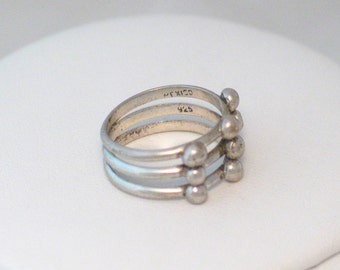 Triple silver ring band stacking design size 8 solid Sterling silver 925 cage dome bead ball wrap abstract art look vintage fine jewelry
