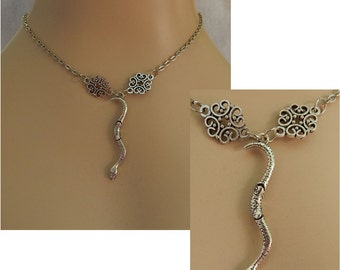 """Silver Jointed Snake Pendant Necklace Jewelry Handmade NEW Chain 18"""" Fashion Accessories"""