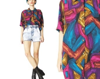 Vintage 80s 90s Abstract Print Shirt Womens Short Sleeve Blouse Button Down Shirt Jewel Toned Top Collared Blouse Slouchy Hipster Shirt (L)