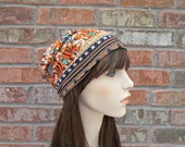 Jersey Knit Hat Jersey Knit Hat Orange and Blue Slouchy Beanie Summer Beanie Boho Beanie Floral Hat Womens Beanie Boho Clothing Teen Beanies