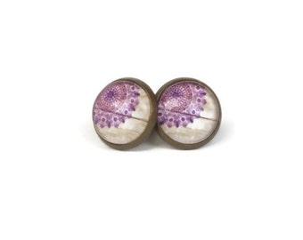 Purple Earrings, Lace Design on Wooden Background, Simple Earrings for Women, Jewelry for Teens, Nickel Free Earrings, Stocking Stuffer