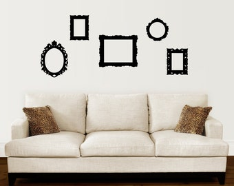Picture Frame Decals - Set of 5 - Baroque Style Frame Wall Stickers - Picture Frame Wall Decal