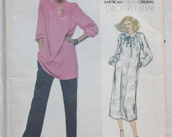 80's Vintage  Vogue  American Designer Sewing Pattern 2100  by Geoffrey Beene Dress or Tunic and Pants  Size 14. bust 36""