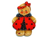 Ladybug Ginger Ornament or Fridge Magnet, Handpainted Wood Gingerbread Refrigerator Magnet