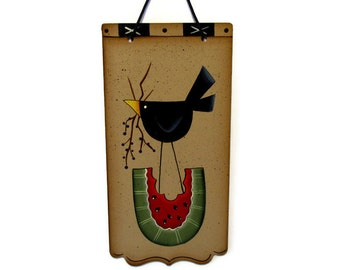 Black Crow on Watermelon, Handpainted Wood Sign, Hand Painted Primitive Wall Art, Tole Decorative Painting, B7