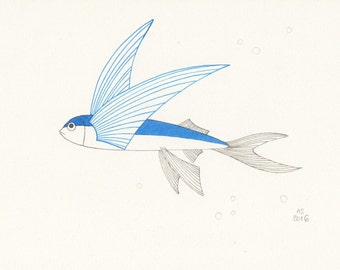 Flying fish drawing etsy for Flying fish drawing