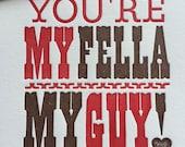 Letterpress Valentine, My Fella, My Guy card