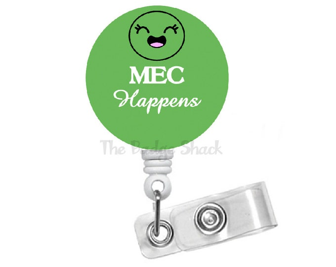 MEC Happens - Retractable ID Badge Reel - Labor and Delivery Badge Holder - L&D Badge Reel - Baby Badge Holder - RN - Gift for Her