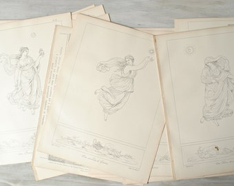 Antique Illustration Plates - Lot of 16 from The Hours of Raphael in Outline 1891