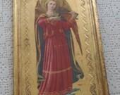 Vintage Plaque Florentine Tole Angel with Musical Instrument