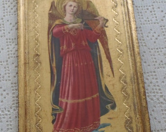 Vintage Plaque Florentine Tole Angel with Musical Instrument