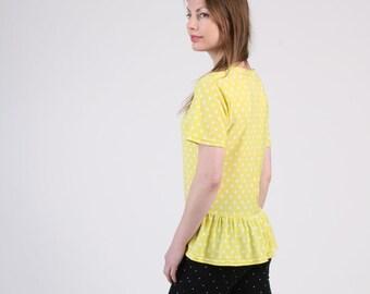 Ruffle Hem T-Shirt with Short Sleeve, Ruffle Top, Polka Dot Top, Yellow Top, Loose Top, Jersey Top, Crewneck Top - Yellow Polka Dot