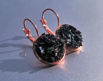 Carborundum Crater Copper Druzy French Earrings