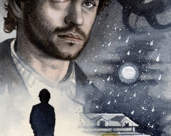"""Home - Will Graham - Hannibal Traditional Art Watercolor Painting - Fine Art Print 15x20cm (5.9""""x7.8"""") - Hand Signed"""