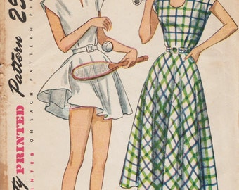 Simplicity 2474 / Vintage 1940s Sewing Pattern / Tennis Dress And Shorts / Size 14 Bust 32