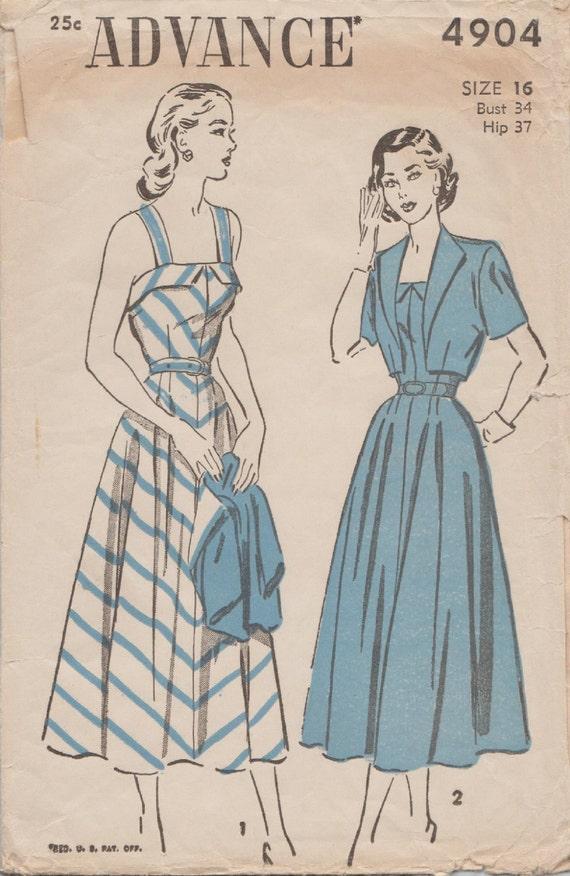 Patrón de costura Vintage años 40 / Advance 4904 / vestido y Bolero ...
