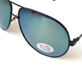 vintage 1980's NOS aviator sunglasses black metal wire frames green yellow mirror lenses sun glasses eyewear oversized mens womens retro
