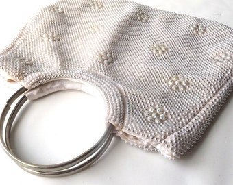 vintage 1960's blush pink white pearl beaded purse round silver handles handbag formal evening retro fashion accessories accessory womens